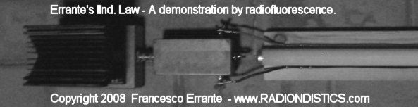 A properly adapted 300 Ohm balanced transmission line terminated on a reactive but non-radiating load undergoing a radiation test by means of a radiofluorescent detector. Experimental verification of the IInd Errante's law applied to the transmission line